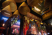 Coil incense hangs from the roof of Tin Hau Temple in Hong Kong.