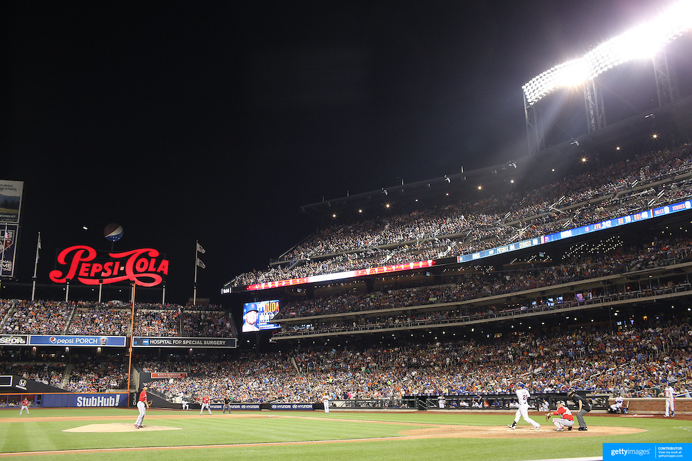 Lucas Duda, New York Mets, hits his second solo home run of the night in the 7th inning during the New York Mets Vs Washington Nationals. MLB regular season baseball game at Citi Field, Queens, New York. USA. 1st August 2015. (Tim Clayton for New York Daily News)