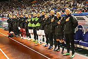 New Zealand support crew during National Anthem (NZL), <br /> MARCH 5, 2014 - Football /Soccer : <br /> Kirin Challenge Cup 2014<br /> between Japan 4-2 New Zealand <br /> at National Stadium, Tokyo, Japan. <br /> (Photo by YUTAKA/AFLO SPORT)