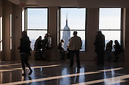 New York TOP OF THE ROCK terrace in the he Rockfeller center, Empire state building. panoramic view of Manhattan skyline.  New York, Manhattan - United states  view from