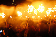 Tuesday 29th January 2013: The Galley, flanked by Guizers with torches, is drawn through Lerwick during the Up Helly Aa 2013 festival in Lerwick, Shetland..Copyright 2013 Peter Horrell