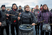 The Pandemonium Drummers from the London 2012 Olympic Ceremonies perform Symphony of Waves created for the Armistice Day centenary remembrance event 'Pages of the Sea' on Folkestone Harbour Arm, Folkestone Kent. 11th November 2018. Presented by over 40 drummers, the semi-improvised piece explores the concern, anxiety, and commitment of those who left home and started a journey across the sea to fight in World War One, from which many did not return. Performed on buckets and bins is is designed to evoke memories of a pleasant land left behind and outlooks of an uncertain future. (photo by Andrew Aitchison / In pictures via Getty Images)