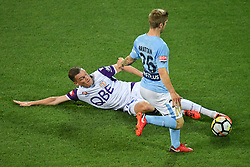November 24, 2017 - Melbourne, Victoria, Australia - SHANE LOWRY (4) of the Glory wins the ball from LUKE BRATTAN (26) of Melbourne City in the round eight match of the A-League between Melbourne City and Perth Glory at AAMI Park, Melbourne, Australia. Perth won 3-1 (Credit Image: © Sydney Low via ZUMA Wire)