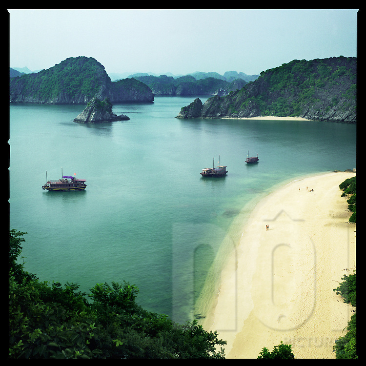 Sand beach in Halong Bay