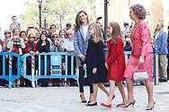 Crown Princess Leonor, Princess Sofia, Queen Letizia of Spain, Queen Sofia of Spain attended the Easter Mass at the Cathedral of Palma de Mallorca on April 16, 2017 in Palma de Mallorca, Spain.
