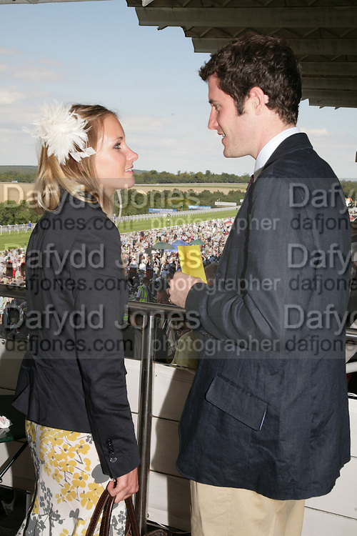 Lord Pembroke and Victoria Bullough, Glorious Goodwood. 31 July 2007.  -DO NOT ARCHIVE-© Copyright Photograph by Dafydd Jones. 248 Clapham Rd. London SW9 0PZ. Tel 0207 820 0771. www.dafjones.com.