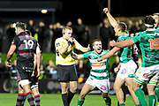 Benetton players celebrate as the final whistle blows in the Guinness Pro 14 2017_18 match between Edinburgh Rugby and Benetton Treviso at Myreside Stadium, Edinburgh, Scotland on 15 September 2017. Photo by Kevin Murray.