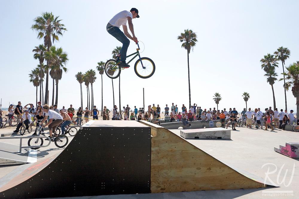 Bike Rider Flying Over Jump Ramp, Venice Beach, California