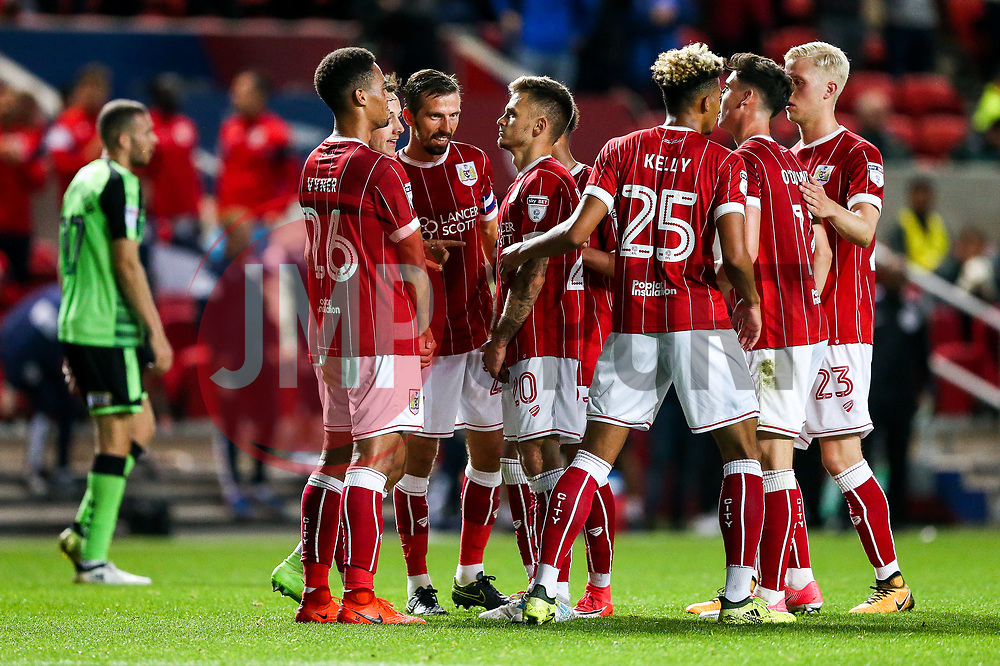 Jamie Paterson of Bristol City celebrates with Zak Vyner after scoring a goal to make it 5-0 - Rogan/JMP - 08/08/2017 - Ashton Gate Stadium - Bristol, England - Bristol City v Plymouth Argyle - Carabao Cup Round One.