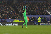 Alisson Becker (1) celebrates the 4th Liverpool goal during the Premier League match between Leicester City and Liverpool at the King Power Stadium, Leicester, England on 26 December 2019.