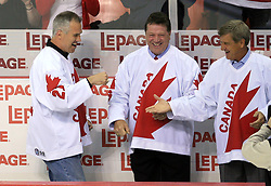 Players of Canada s 1976 Canada Cup team( at right Bobby Orr), that players are in Hockey Hall of Fame,at Canada - USA game at IIHF WC 2008 in Halifax, on May 06, 2008 in Metro Center, Halifax, Nova Scotia, Canada. Germany won 4:2. (Photo by Vid Ponikvar / Sportal Images)