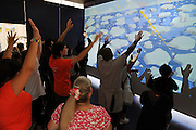 Opening day at California Academy of Sciences Visitors can 'save the polar bear' in an interactive video game on a giant video screen by moving their arms in different directions..The California Academy of Sciences is a world-class scientific and cultural institution based in San Francisco. The Academy recently opened a new facility in Golden Gate Park, a 400,000 square foot structure that houses an aquarium, a planetarium a natural history museum and a 4-story rainforest all under one roof. The new facility was built by renowned architect Renzo Piano....Alternative Energy in Silicon Valley and the San Francisco Bay Area