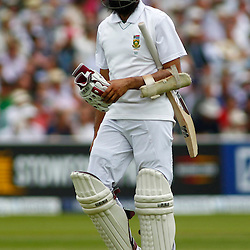 16/08/2012 London, England. South Africa's Hashim Amla walks off after being dismissed during the third Investec cricket international test match between England and South Africa, played at the Lords Cricket Ground: Mandatory credit: Mitchell Gunn