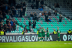 NK Olimpija players celebrates during football match between NK Olimpija Ljubljana and NK Maribor in 1st leg match in Quaterfinal of Slovenian cup 2017/2018, on November 11, 2017 in SRC Stozice, Ljubljana, Slovenia.  Photo by Ziga Zupan / Sportida