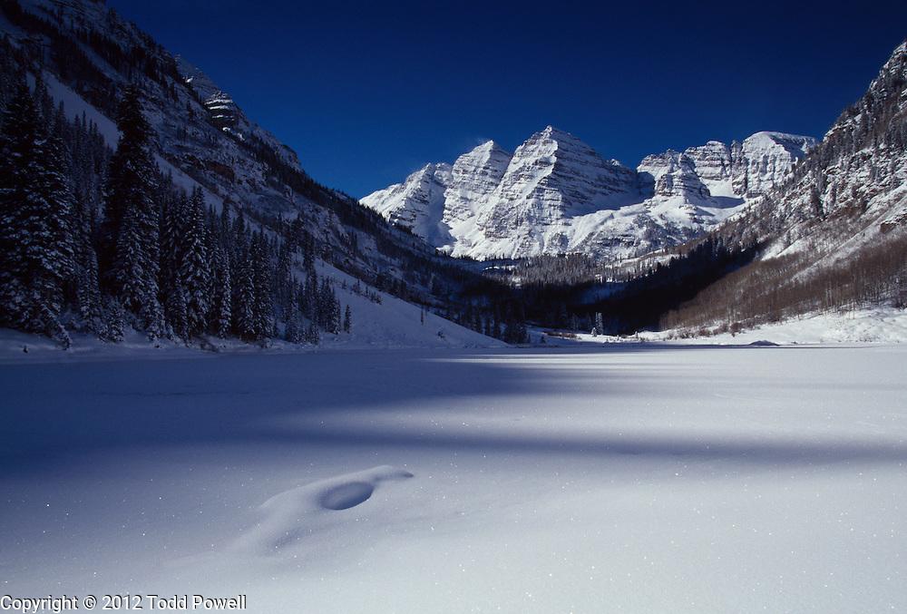 Winter Scenic of the Maroon Bells in the Maroon Bells Snowmass Wilderness near Aspen, Colorado.