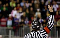 Referee at IIHF Ice-hockey World Championships Division I Group B match between National teams of Slovenia and Great Britain, on April 20, 2010, in Tivoli hall, Ljubljana, Slovenia.  (Photo by Vid Ponikvar / Sportida)