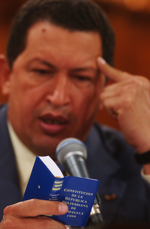 President Hugo Chavez at a press conference for the foreign press.  Chavez answered questions and spoke about the potential for a presidential referendum, his social problems, and a variety of other topics.