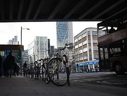 UK ENGLAND LONDON 1MAR14 - A railway bridge of the East London line spans over  Bishopsgate in Shoreditch, east London.<br /> <br /> <br /> <br /> jre/Photo by Jiri Rezac<br /> <br /> <br /> <br /> © Jiri Rezac 2014