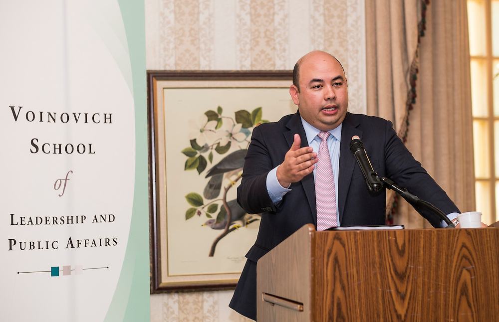 Ohio Speaker of the House Cliff Rosenberger delivers the keynote speech during the Ohio University State Government Alumni Luncheon on Tuesday, May 5, 2015.  Photo by Ohio University  /  Rob Hardin