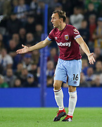 West Ham United midfielder Mark Noble (16) argues a decision during the Premier League match between Brighton and Hove Albion and West Ham United at the American Express Community Stadium, Brighton and Hove, England on 5 October 2018.