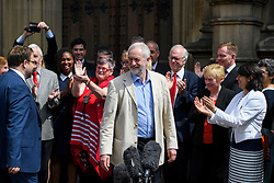 © London News Pictures. 09/05/2016. London, UK. Leader of the Labour Party, JEREMY CORBYN, greets new Labour MPs Chris Elmore and Gill Furniss outside the Houses of Parliament in London following elections last week. Photo credit: Ben Cawthra/LNP