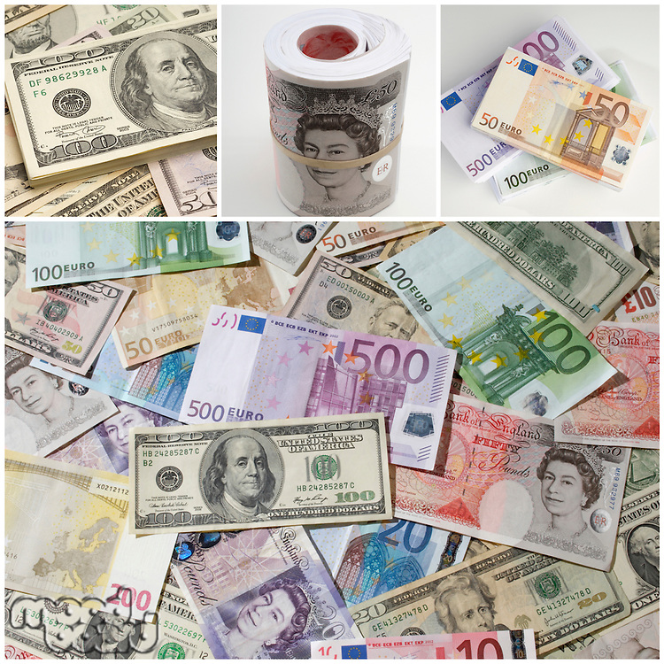 Collage of different paper currencies