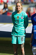 USA goalkeeper Ashlyn Harris (18) stands during player introductions before an international friendly in Chicago, Sunday, Oct. 6, 2019, in Chicago. USWNT tied the Korea Republic 1-1. (Max Siker/Image of Sport)