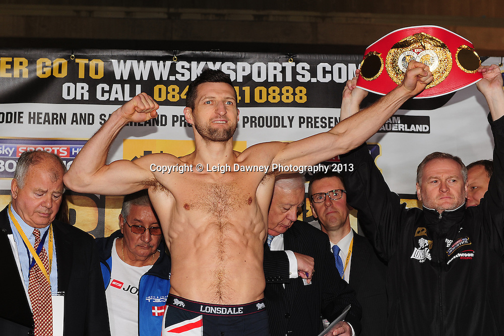 Carl Froch (pictured) and Mikkel Kessler at the Public Weigh In at London Piazza, 02 Arena, London, United Kingdom. 24.05.13. Credit © Leigh Dawney Photography 2013.