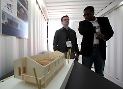 Dec 03 2007. New Orleans, Louisiana. Lower 9th Ward.<br /> Brad Pitt revisits the Lower 9th ward, devastated by Hurricane Katrina to present 'Make it Right' where architects' designs are unveiled to the public. One of the winning design Architects, Filo Castro (mid pic) of BNIM of Houston.<br /> Photo credit; Charlie Varley.