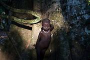 C'est la première fois qu' Ahé se laisse prendre en photo. Elle s'est nichée au creux d'un arbre immense.