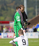 Inverness' Owain Fon Williams give a hand up to Dundee's Rory Loy at the end - Inverness Caledonian Thistle  v Dundee, Ladbrokes Scottish Premiership at Caledonian Stadium <br /> <br />  - © David Young - www.davidyoungphoto.co.uk - email: davidyoungphoto@gmail.com