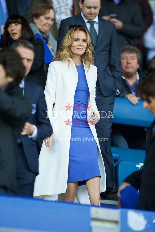 LIVERPOOL, ENGLAND - Sunday, April 26, 2015: Everton supporter and actress Amanda Holden before the Premier League match against Manchester United at Goodison Park. (Pic by David Rawcliffe/Propaganda)