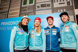 Ilka Stuhec, Ana Drev, Zan Kranjec and Ana Bucik during press conference of Slovenian Alpine Ski team after the end of the season 2016/17, on March 22, 2017 in Telekom Slovenije, Ljubljana, Slovenia. Photo by Vid Ponikvar / Sportida