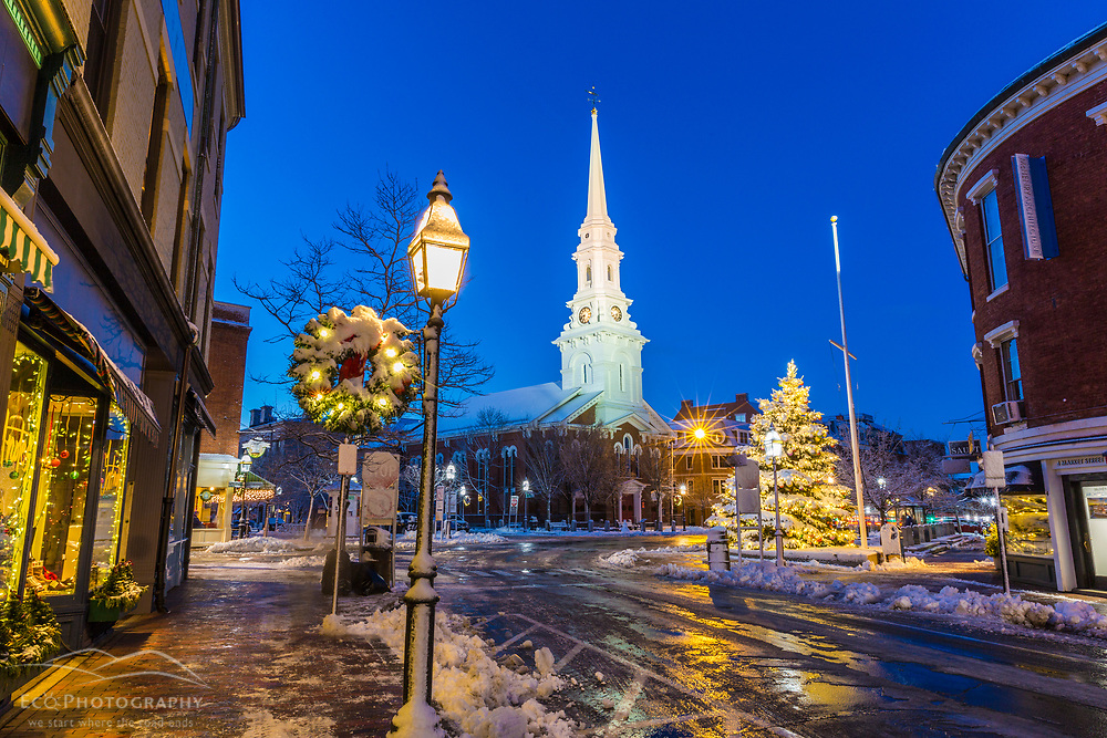 Christmastime on Market Street in Portsmouth, New Hampshire.