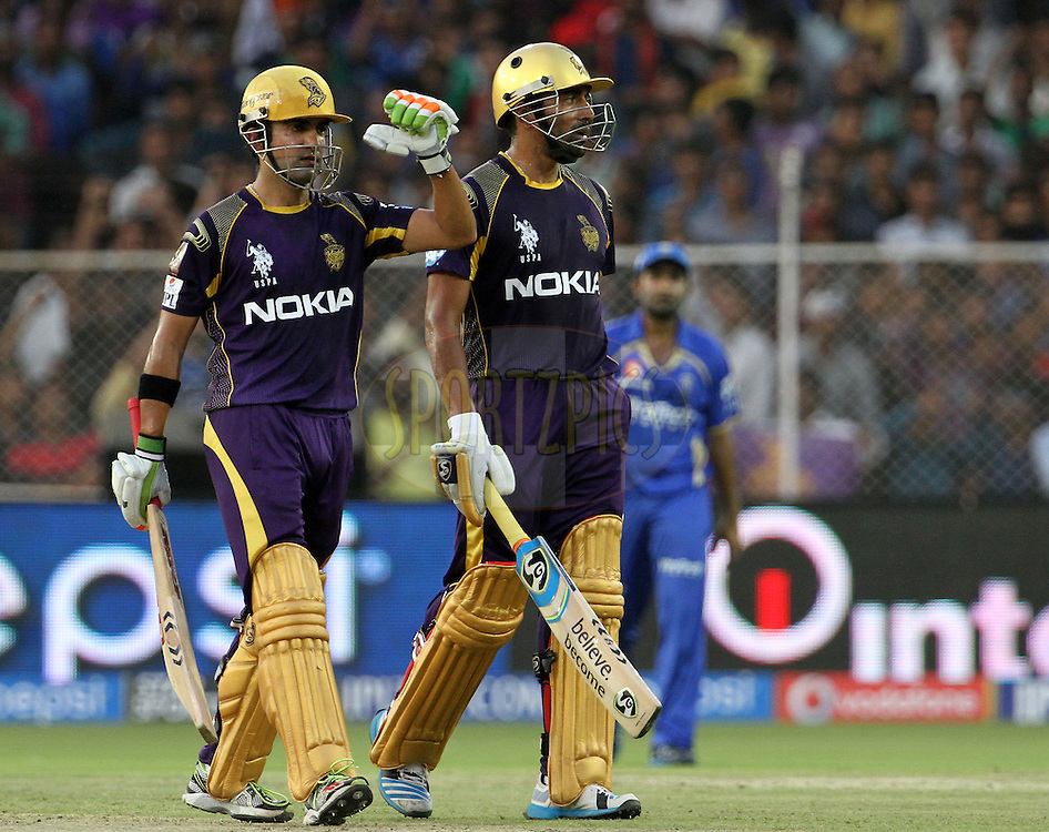 Gautam Gambhir captain of the Kolkata Knight Riders and Robin Uthappa of the Kolkata Knight Riders  during match 25 of the Pepsi Indian Premier League Season 2014 between the Rajasthan Royals and the Kolkata Knight Riders held at the Sardar Patel Stadium, Ahmedabad, India on the 5th May  2014<br /> <br /> Photo by Vipin Pawar / IPL / SPORTZPICS      <br /> <br /> <br /> <br /> Image use subject to terms and conditions which can be found here:  http://sportzpics.photoshelter.com/gallery/Pepsi-IPL-Image-terms-and-conditions/G00004VW1IVJ.gB0/C0000TScjhBM6ikg