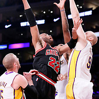 09 February 2014: Chicago Bulls power forward Taj Gibson (22) goes for the skyhook over Los Angeles Lakers center Chris Kaman (9) during the Chicago Bulls 92-86 victory over the Los Angeles Lakers at the Staples Center, Los Angeles, California, USA.