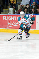 KELOWNA, CANADA, JANUARY 4: Shane McColgan #18 of the Kelowna Rockets skates with the puck as the Spokane Chiefs visit the Kelowna Rockets on January 4, 2012 at Prospera Place in Kelowna, British Columbia, Canada (Photo by Marissa Baecker/Getty Images) *** Local Caption ***