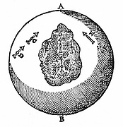 Magnetic needles on a terrella will point towards the north pole, A. other needles will do likewise, even though the surface of the terrella is uneven, as at O. From William Gilbert 'De Magnete', London, 1600