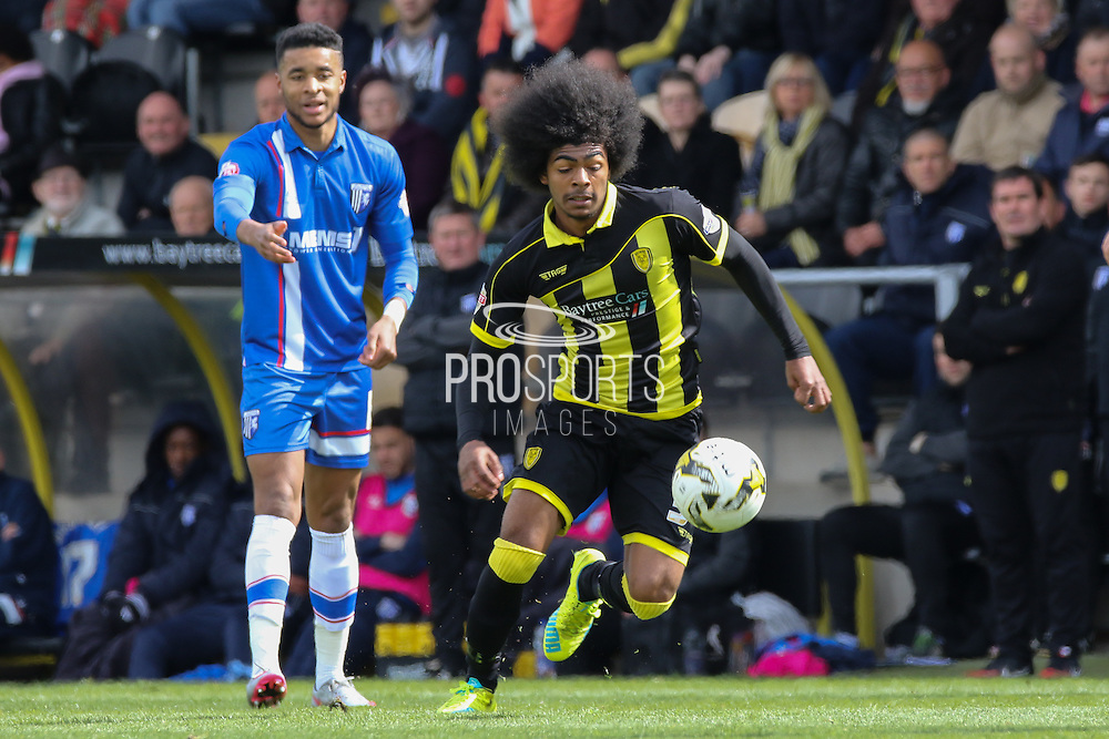 Burton Albion midfielder Hamza Choudhury wins the ball during the Sky Bet League 1 match between Burton Albion and Gillingham at the Pirelli Stadium, Burton upon Trent, England on 30 April 2016. Photo by Aaron  Lupton.