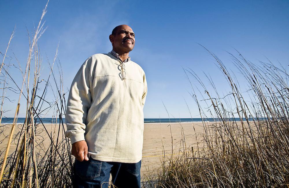Outdoor portrait of Billy Freeman at Freeman Beach, Wilmington, North Carolina.