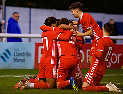 BANGOR, WALES - Monday, October 15, 2018: Wales' players celebrate the second goal scored by Brennan Johnson during the UEFA Under-19 International Friendly match between Wales and Poland at the VSM Bangor Stadium. (Pic by Paul Greenwood/Propaganda)