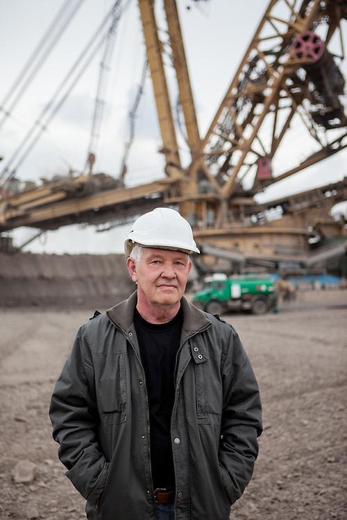 Portrait of a man at a Coal Mining field in Most, Czech Republic.