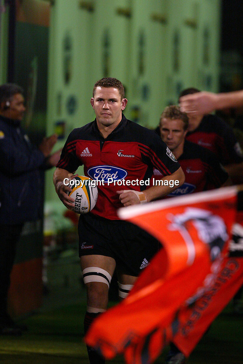 15 May 2004, Rugby Union Super 12 semi final, Crusaders vs Stormers, Jade Stadium, Christchurch, New Zealand.<br />Crusaders Captain leads the team out<br />Crusaders won 27-16 to go through to the final against the Brumbies next week.<br />Please credit: Sandra Teddy/Photosport