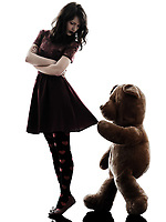 one  strange young woman and vicious teddy bear in silhouette white background