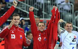 Radovan Pekar (13), Tomas Stranovsky (22) and Radoslav Antl (23) of Slovakia during 21st Men's World Handball Championship 2009 Main round Group I match between National teams of Slovakia and Korea, on January 24, 2009, in Arena Zagreb, Zagreb, Croatia.  (Photo by Vid Ponikvar / Sportida)