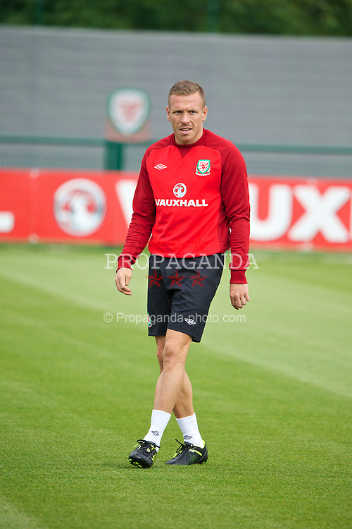 NEWPORT, WALES - Monday, August 12, 2013: Wales' Craig Bellamy training at the FAW National Development Centre at Dragon Park ahead of the International friendly against the Republic of Ireland. (Pic by David Rawcliffe/Propaganda)
