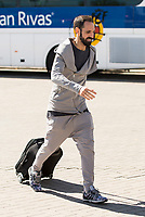 Arrival of the players of the Spanish football team squad for the Qualifying to European Championship in France at the Ciudad del Futbol of Las Rozas, Madrid. October 06, 2015<br /> In the image defeder of Atletico de Madrid, Juanfran Torres.<br /> (ALTERPHOTOS/BorjaB.Hojas)