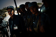 Brigadier General Qadergyl,commander of the Afghan National Police's special forces, inspects his officers in Kabul, Afghanistan August 12, 2009. With the August 20th presidential election approaching, security around the country has tightened with fears of violence. 41 candidates are due to run in Afghanistan's presidential elections which are to be held on August 20. The incumbent president Karzai is considered to be the frontrunner despite claims of corruption and what many consider an ineffectual government.