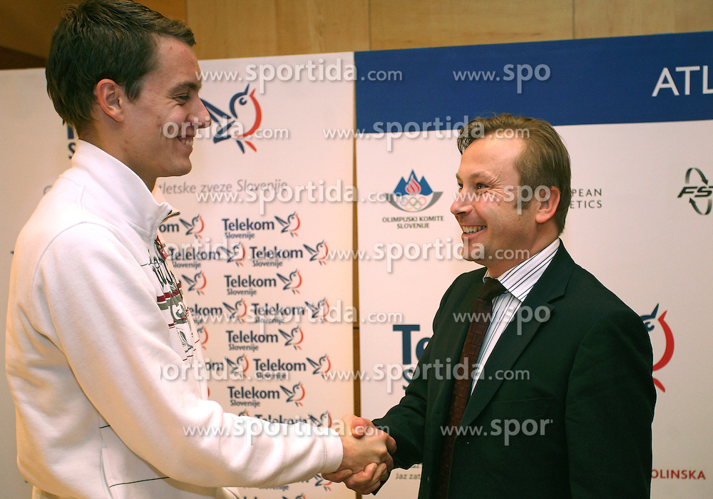 Rozle Prezelj and president of AZS dr. Peter Kukovica when Athletic Federation of Slovenia (AZS) and top Slovenian athletes sign a contract of sponsorship, on February 14, 2008 in M-Hotel, Ljubljana, Slovenia. (Photo by Vid Ponikvar / Sportal Images)