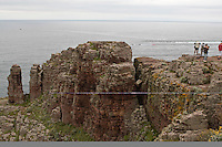 Pink sandstone rock at Cap Frehel peninsular